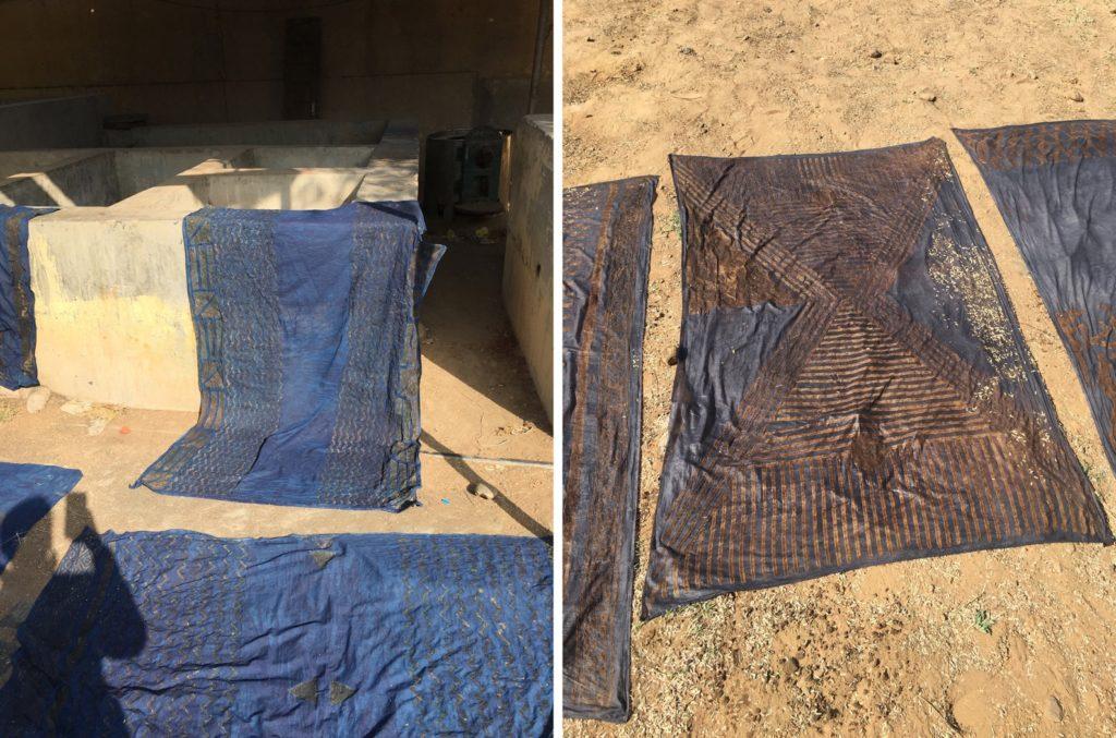 Stoffe liegen nach dem Blockdruck und ersten und zweiten Färbedurchgang in der Sonne.